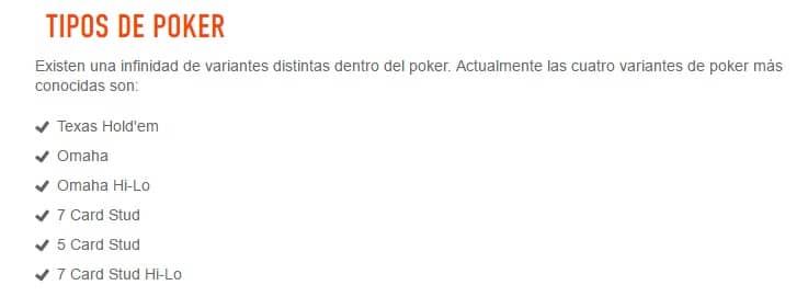 Sportium tipos de poker