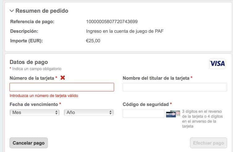 Datos de tarjeta PAF