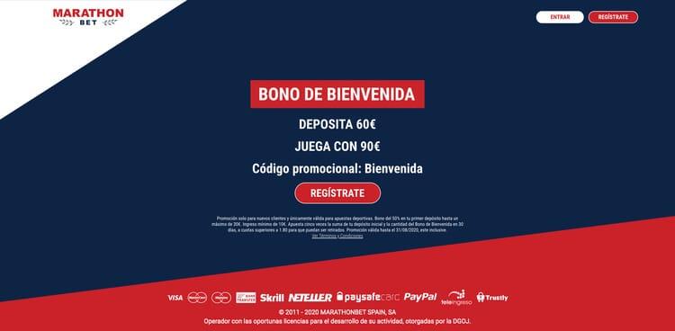 Código promocional nuevo Bono de Bienvenida Marathonbet