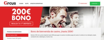 Bono de bienvenida 200€ para casino en Circus.es