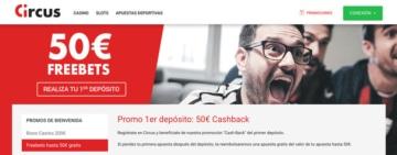 Bono de bienvenida hasta 50€ Freebets para Circus.es