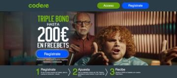 Triple bono de codere en España hasta 200€ en freebets