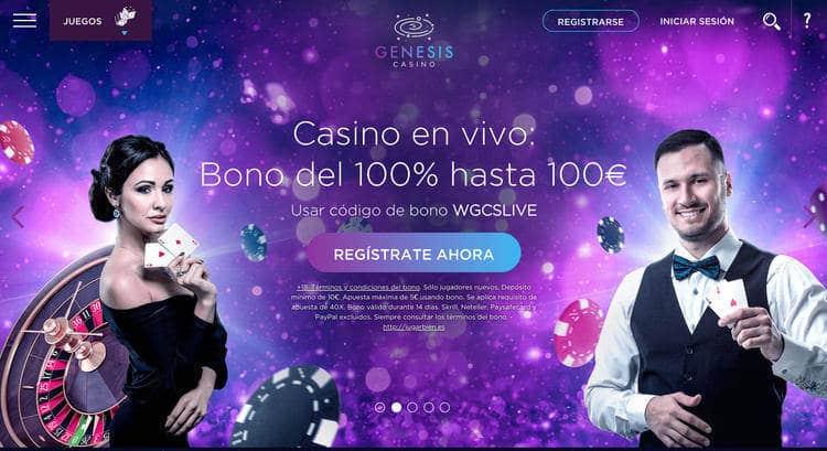 Bono de Bienvenida Casino en vivo de Génesis Casino para España