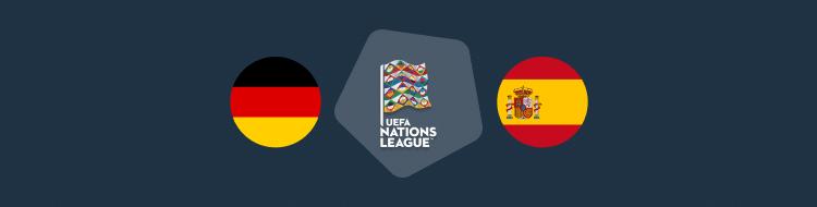 Cabecera del pronóstico Alemania vs España de la Liga de las Naciones