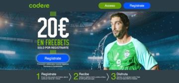 Nueva promoción 20€ en freebets registrándote en codere