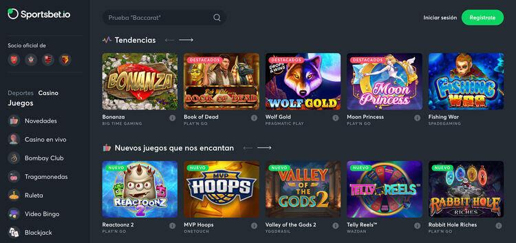 Sección del casino Sportsbet.io