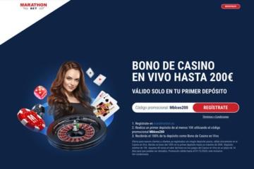 Marathon BET bono casino en vivo 200 euros