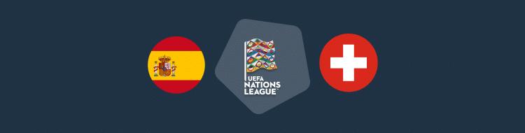 Cabecera del partido España vs Suiza de la UEFA Nations League