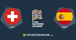 banderas suiza, españa, logo uefa nations league