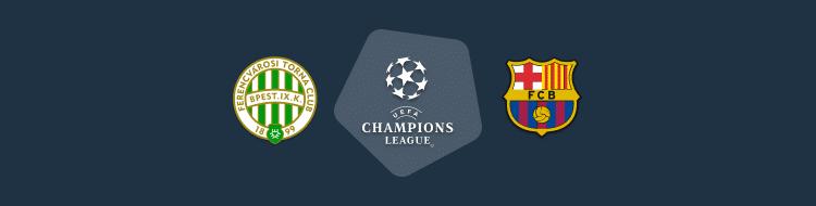 Cabecera del Ferencváros vs Barcelona de la Champions