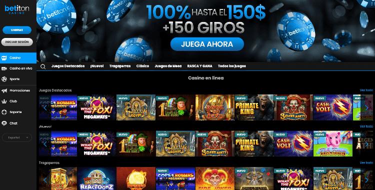 betiton casino captura de pantalla de la interfaz