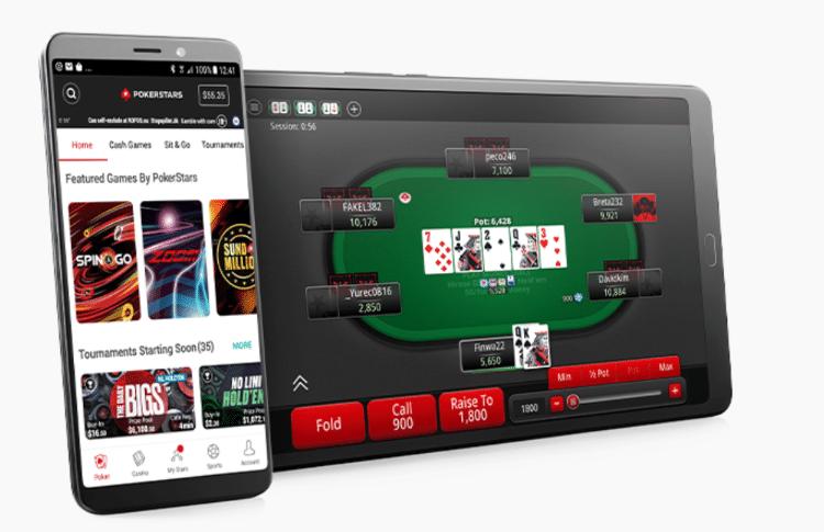 PokerStars app vista de la interfaz en dispositivos móviles