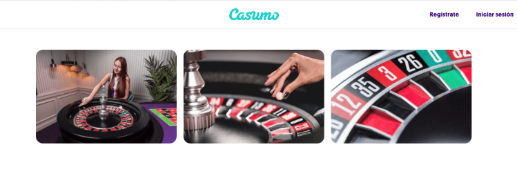 Casumo captura de la interfaz del casino en vivo