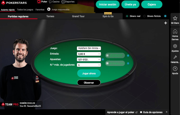 PokerStars interfaz lobby poker