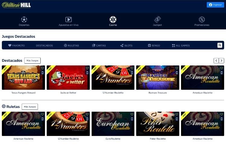 William Hill Colombia Casino captura de la interfaz