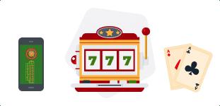 Juegos de casino, tragaperras, cartas. ruleta