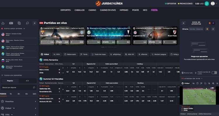 JuegaEnLinea captura de la interfaz de apuestas en vivo