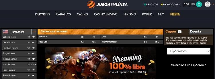 JuegaEnLinea caballos captura de la interfaz de carreras