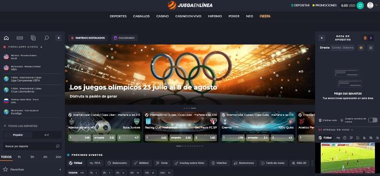 JuegaEnLinea apuestas deportivas captura de la interfaz deportiva
