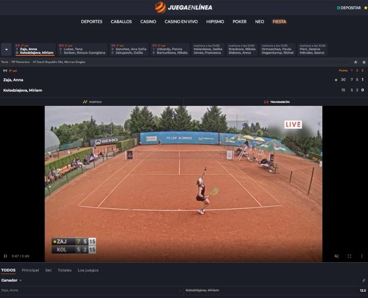 JuegaEnLinea captura de pantalla de la interfaz de streaming
