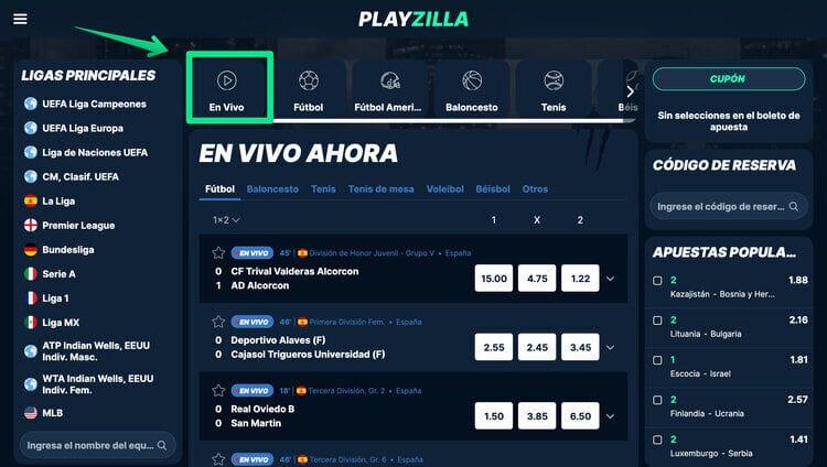 Apuesta en vivo con Playzilla 1